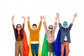 excited kids in superhero costumes and masks with Raised Hands isolated On White