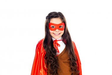 Happy girl in superhero costume and mask Isolated On White stock vector