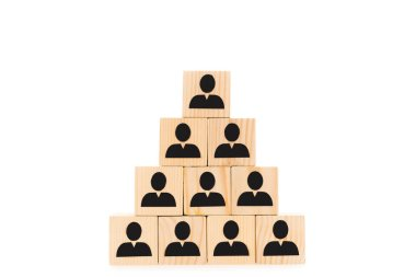 Pyramid made of wooden blocks with black human icons isolated on white stock vector