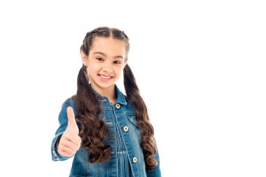 Smiling curly kid in denim jacket showing thumb up isolated on white stock vector