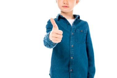 Partial view of kid in denim shirt showing thumb up isolated on white stock vector