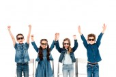 four happy kids in 3d glasses waving hands isolated on white