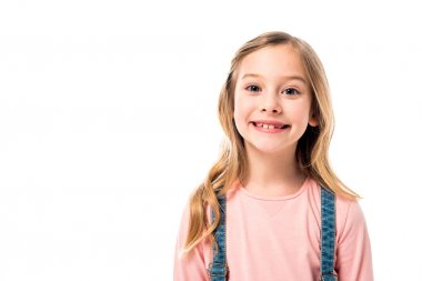 Front view of happy smiling child isolated on white stock vector