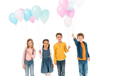 Four smiling kids holding colorful balloons isolated on white stock vector