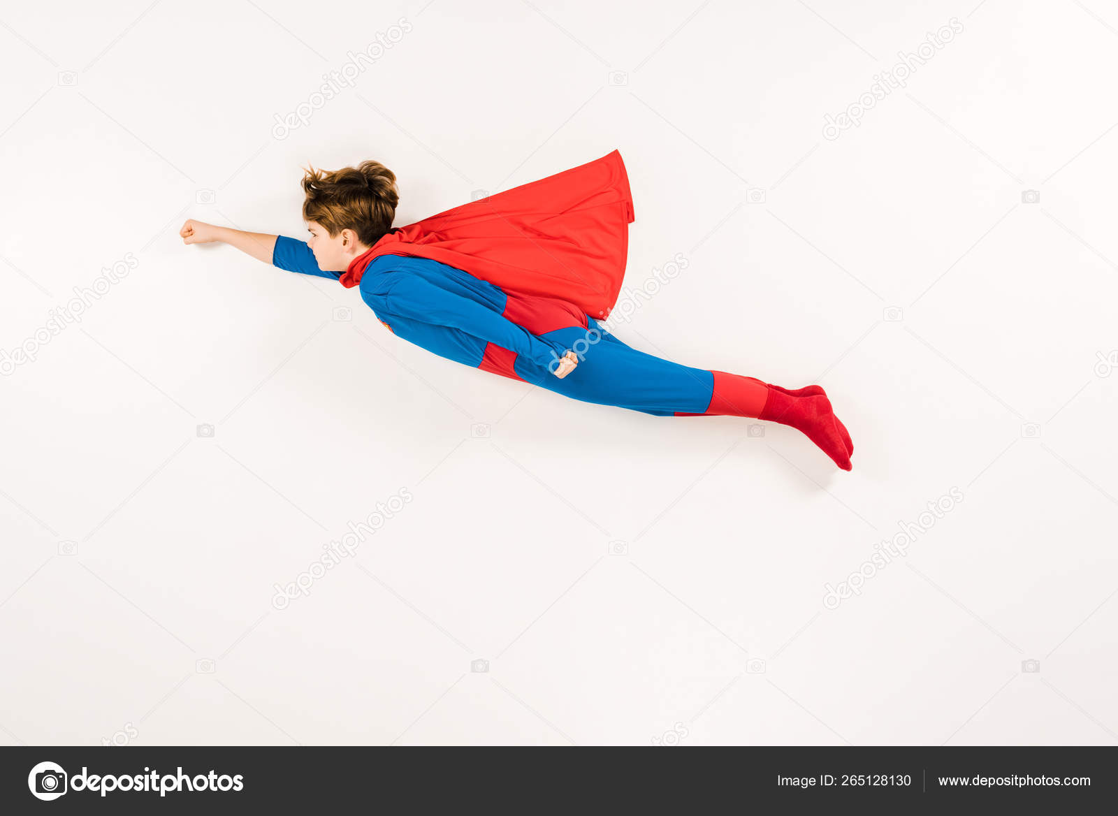 Top View Adorable Kid Super Hero Costume Flying White Stock Photo Image By C Igorvetushko 265128130
