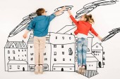 top view of cute children gesturing while flying near houses on white