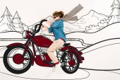 top view of kid in super hero mask driving motorcycle in mountains on white