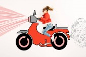 top view of happy kid in super hero mask driving motorbike on white