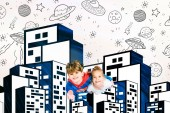 top view of cheerful kids flying near buildings and planets on white