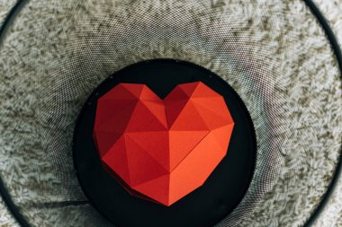Red heart in black trash can on carpet stock vector