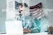 katona álcázás egységes használó laptop irodai közelében adatok vizualizáció