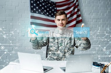 Happy man in military uniform pointing with fingers at address bar in office stock vector