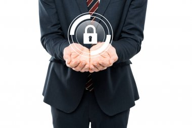 Cropped view of businessman with cupped hands near virtual padlock isolated on white stock vector