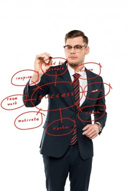 handsome businessman in glasses holding marker pen near lead by example lettering on white