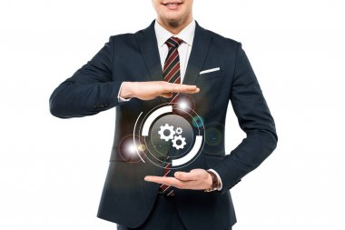 Cropped view of businessman in formal wear gesturing near virtual cogwheel isolated on white stock vector