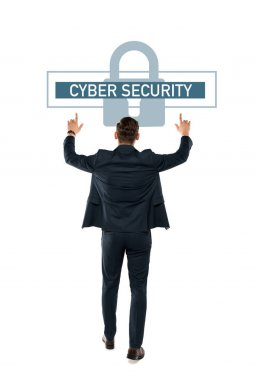 Back view of businessman pointing with fingers at cyber security lettering while standing isolated on white stock vector