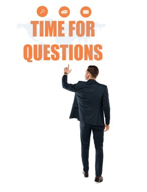 back view of man pointing with finger at time for questions lettering while standing on white