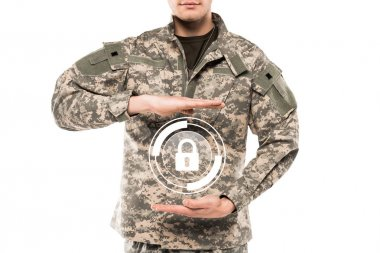 Cropped view man in military uniform touching virtual padlock isolated on white stock vector