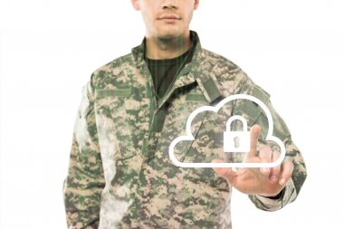 Cropped view of soldier in uniform pointing with finger at virtual cloud with padlock on white stock vector