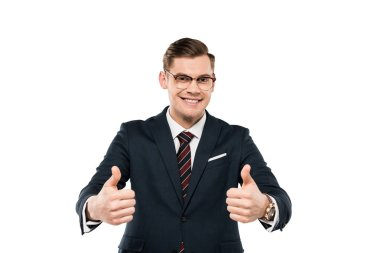 cheerful businessman in glasses showing thumbs up isolated on white