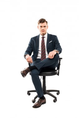 Confident businessman sitting on chair and looking at camera isolated on white stock vector