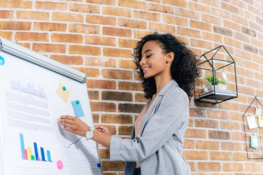smiling african american Casual businesswoman near flipchart during Presentation in loft office