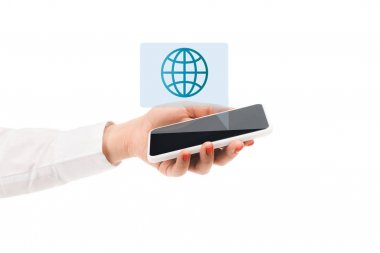 Cropped view of woman holding smartphone with globe sign above isolated on white stock vector