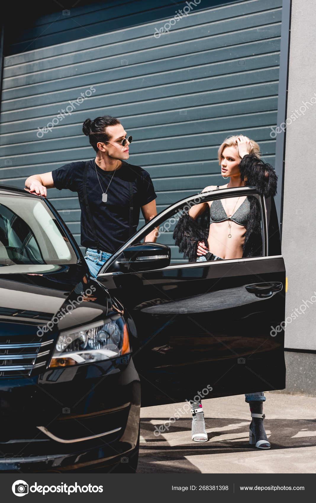 Stylish Handsome Man Beautiful Girl Posing Car Garage