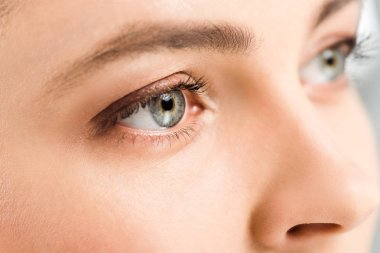 cropped view of woman with eye shadows on eyes looking away