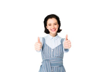 Beautiful girl showing thumbs up isolated on white stock vector
