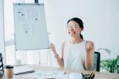 glückliche Geschäftsfrau feiert Triumph, während sie am Schreibtisch im Büro sitzt