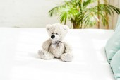 grey teddy bear near blue pillows on white bedding at home
