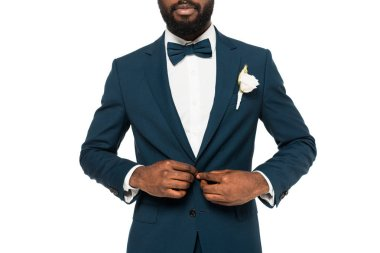 Cropped view of bearded african american man touching suit isolated on white stock vector