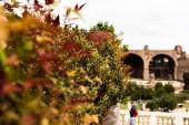 Rome, Olaszország-június 28, 2019: szelektív Fókuszban az ember piros hátizsák előtt álló régi épület