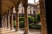 Roma, Italia - 28 giugno 2019:edifici antichi con colonne e alberi verdi