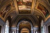 ROME, ITALY - JUNE 28, 2019: ceiling with ancient frescoes in vatican museum