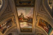 ROME, ITALY - JUNE 28, 2019: ceiling with ancient frescoes in vatican museums