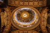 ROME, ITALY - JUNE 28, 2019: bottom view of ceiling with ancient frescoes in vatican museums