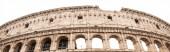 ROME, ITALY - JUNE 28, 2019: panoramic shot of ruins of colosseum