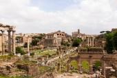 Rom, Italien - 28. Juni 2019: Touristen spazieren durch das Forum Romanum unter grauem Himmel