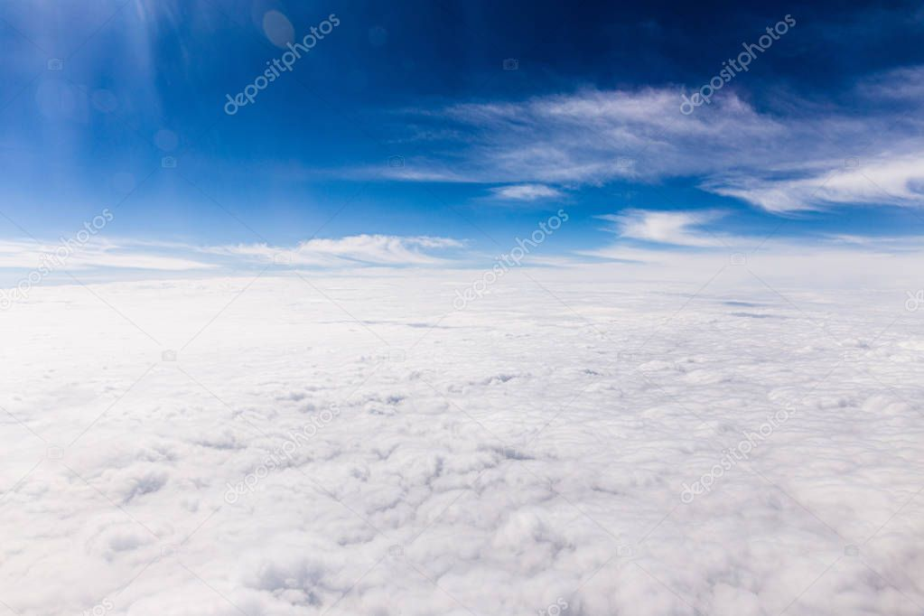 blue sky with white clouds in rome, italy