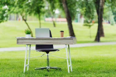 selective focus of office table with different office stuff near office chair in park