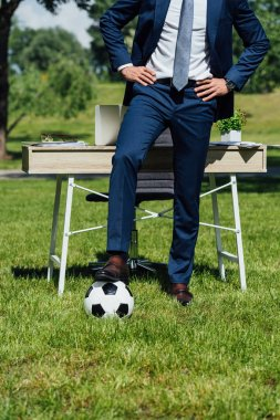 Cropped view of businessman standing with leg on soccer ball near table in park with hands on hips