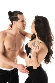 Fotografie sexy couple with handcuffs embracing isolated on white
