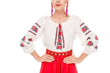 Cropped view of young woman in national Ukrainian costume standing with hands on hips isolated on white stock vector