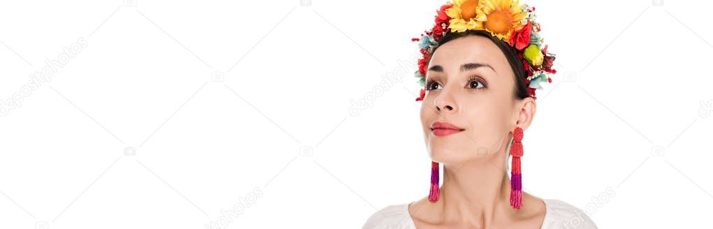Brunette young woman in national Ukrainian embroidered shirt and floral wreath looking away isolated on white, panoramic shot stock vector