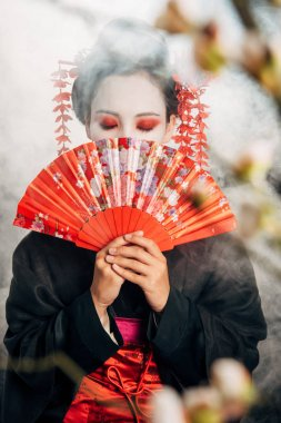 Selective focus of geisha in black kimono with flowers in hair holding hand fan and sakura branches in smoke stock vector