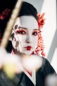 selektivní zaměření sakurských větví a nádherné gejša s červeným a bílým líčením na slunci