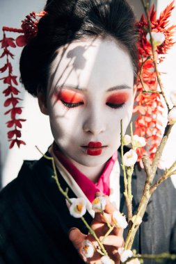 Sakura branches and beautiful geisha with red and white makeup in sunlight stock vector