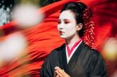 Fotografia messa a fuoco selettiva dei rami degli alberi e bella geisha guardando lontano con stoffa rossa sullo sfondo alla luce del sole